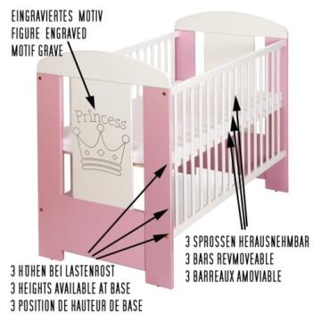 Baby PRINCESS Bett mit Holz Gravur und Matratze
