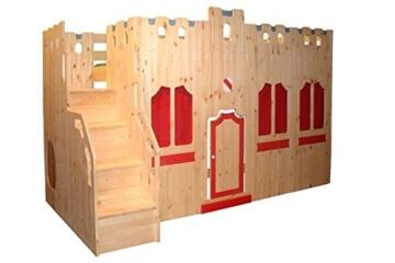 Hochbett Schloss Bett mit Treppe und Fassade Kiefer Massivholz -
