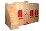 Hochbett Schloss Bett mit Treppe und Fassade Kiefer Massivholz