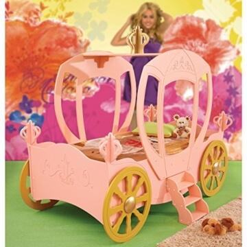 Kinderbett Bett mit Matratze Kutsche für Prinzessin rosa -