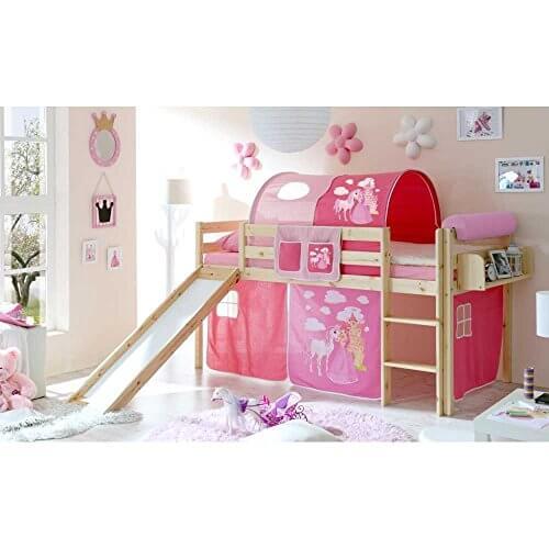 prinzessin hochbett mit rutsche und tunnel kiefer massivholz im vergleich 2018. Black Bedroom Furniture Sets. Home Design Ideas