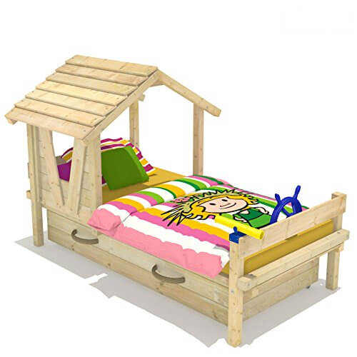 Wickey kinderbett forest house spielbett holz mit dach und for Bett prinzessin