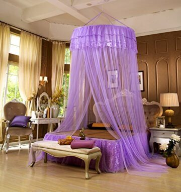 LifeWheel Romantische Prinzessin Runden Spitzen Betthimmel Moskitonetzen  Kuppel Bett Netting Baldachin Vorhang Moskitonetz (Violett)