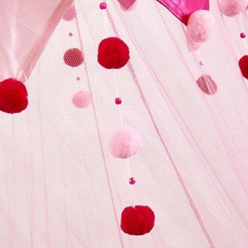 Moskitonetze 4 U - Rosa- Doppelbett mit Baldachin Dekorative Silky Valance und Rosa Bobbles